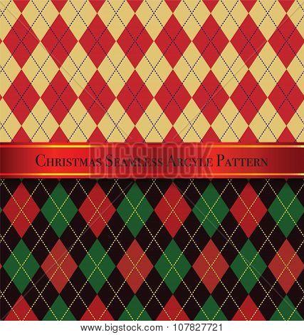 Christmas Seamless Argyle Pattern Design Set 2