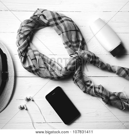 summer tools over white table black and white color style