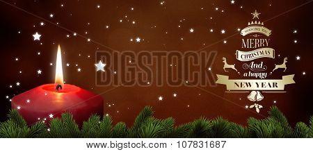 Christmas greeting against orange abstract light spot design