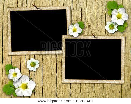 Frames On The Old Wooden Wall