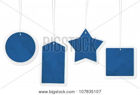 Collection Of Four Blue Paper Price Tags