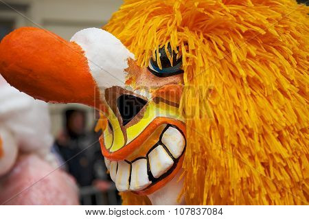 Closeup of the Waggis Basel Carnival mask in Basel, Switzerland.