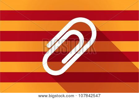 Illustration of a long shadow Catalonia vector flag with a clip poster