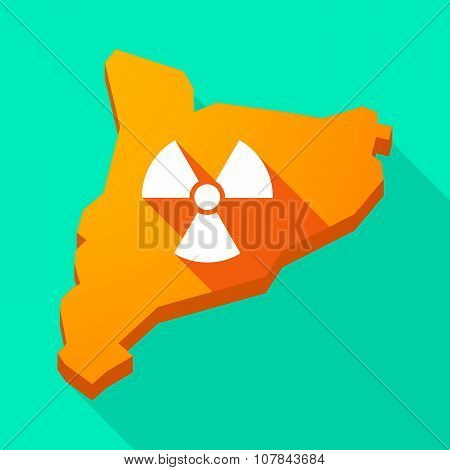 Catalonia Long Shadow Vector Icon Map With A Radio Activity Sign