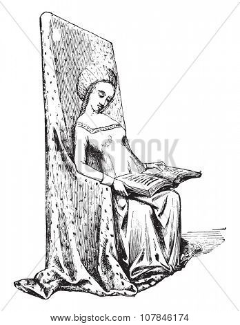 Chair of the fifteenth century, vintage engraved illustration. Industrial encyclopedia E.-O. Lami - 1875.