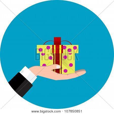 Vector Hand Giving Present