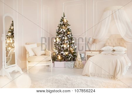 modern child's bedroom with Christmas tree