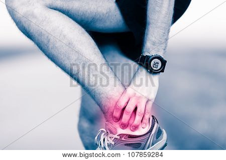 Leg Ankle Pain, Man Holding Sore And Painful Foot