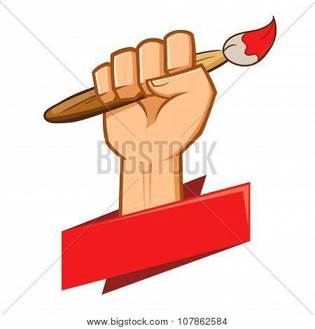 Hand Holding Paint Brush Held Up High