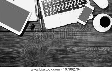 Writer laptop table nobody view business tablet poster