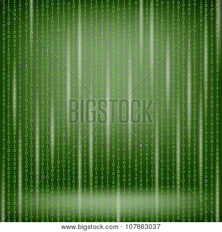 Binary Code Green Background