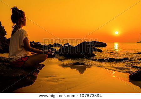 Sunset Yoga Woman With Spirituality On Sea Coast