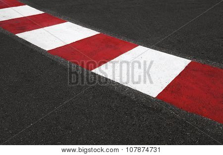 Texture Of Race Asphalt And Curb Grand Prix Circuit