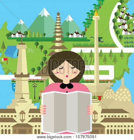 woman people read map indonesia tourism bali bandung jakarta yogyakarta monument travel asia