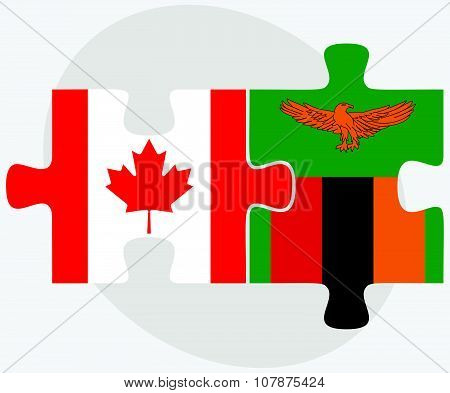 Canada And Zambia Flags