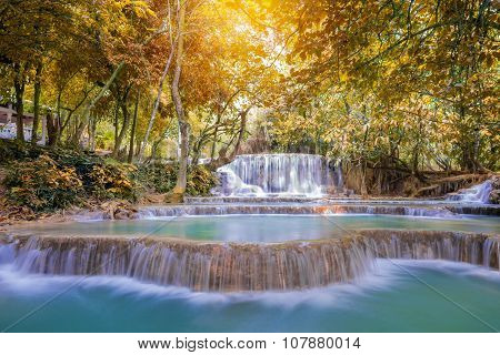 Waterfall In Rain Forest ( Tat Kuang Si Waterfalls At Luang Prabang.)
