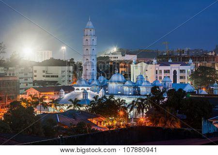 """Mosque """"Masjid Putih"""" at twilight. The city of Kuala Terengganu. Malaysia poster"""