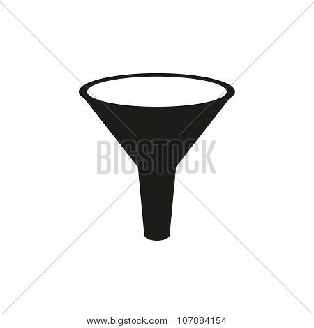 The funnel icon. Filtered and filter, laboratory, chemistry symbol. Flat