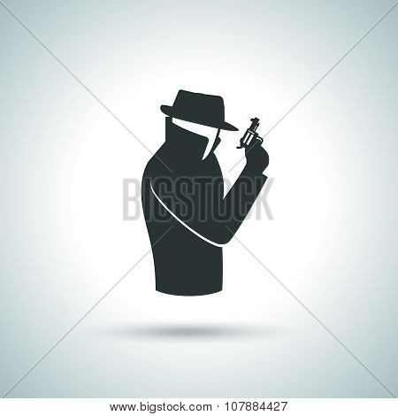 Secret service agent. Man in suit with gun icon poster
