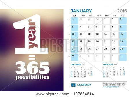 Desk Calendar For 2016 Year. January. Vector Stationery Design Template With Motivational Quote On T