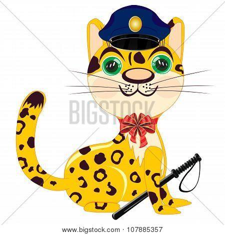 Cartoon Animal Leopard Police