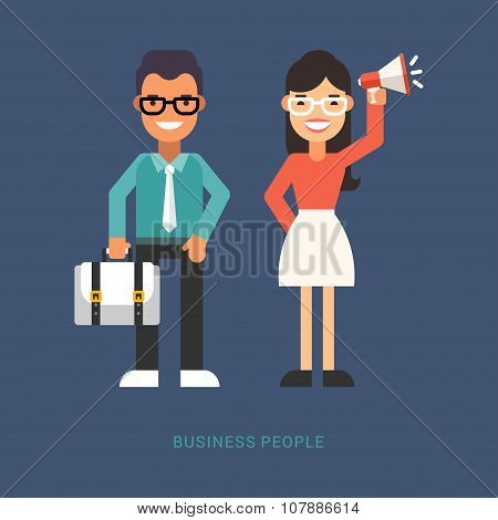 Flat Style Vector Illustration. Business People. Cartoon Characters Businessman With Suitcase And Bu