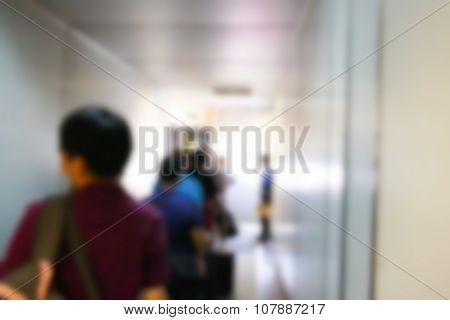 Blurry Defocused Image Of Passenger In The Airbridge