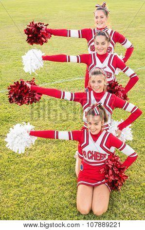 Happy Cheerleaders During Exhibition