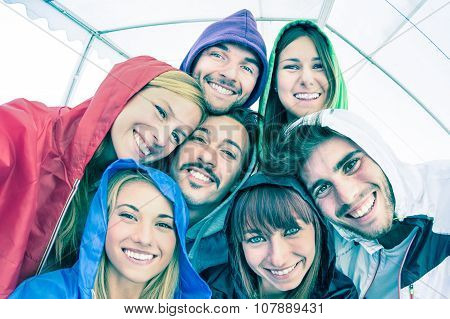 Best Friends Taking Selfie Wearing Hoodies Outdoors - Happy Friendship Concept With Young People