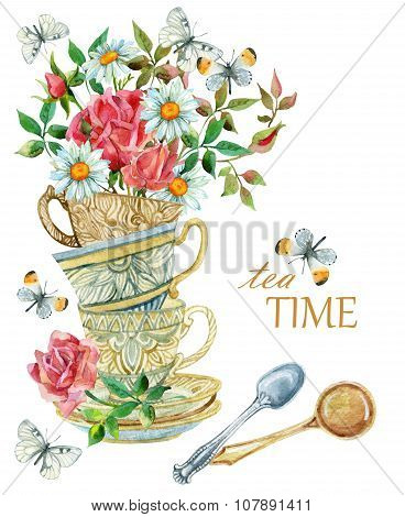 Watercolor Tea Cups Background With Spoon, Flowers And Butterfly.