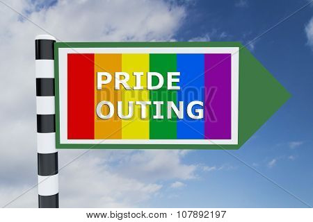 Render illustration of Pride Outing Title on road sign with Pride flag as background poster