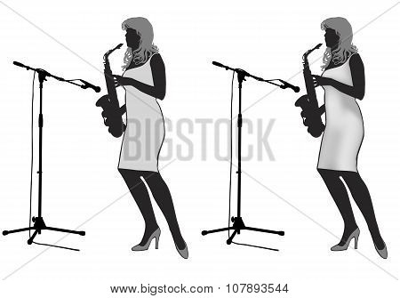 Girl_saxophonist Silhouette