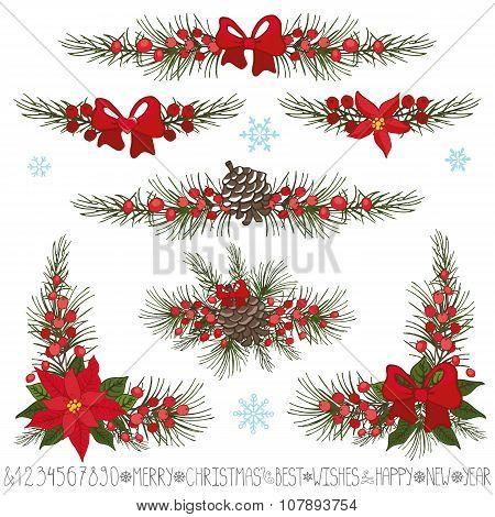 Christmas,New year garland,borders,corner set