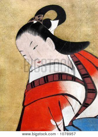 Beautiful Japanese Woman Wearing Traditional Kimono