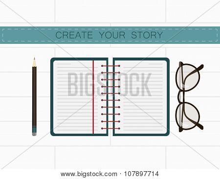 Writer workplace. Create your story in notes