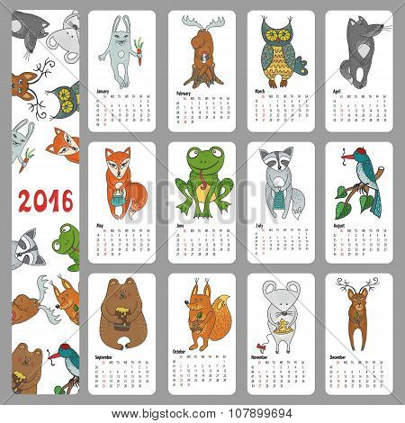 Calendar 2016 new year.Woodland animals set.Hand drawing doodleVector illustration, baby style.Bird, squirell, mouse and rog, elk and raccoon, hare and wolf, fox, bear and frog, deer, owl poster