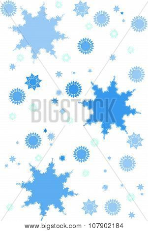 Stars and snowflakes on white background.