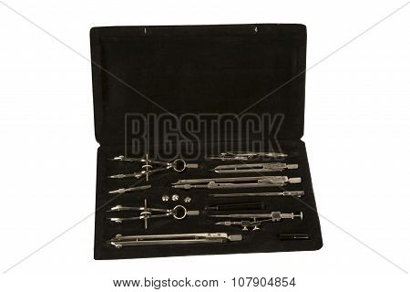 The Drawing Set On Black Box Isolated On White Background