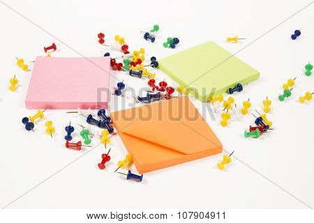 Push Pins With Stickers On White Background