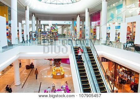 KYIV UKRAINE - SEPT 22 2015: People at Ocean Plaza shopping mall in Kyiv. Ocean Plaza is the second largest shopping mall and entertainment complex of Kyiv. poster