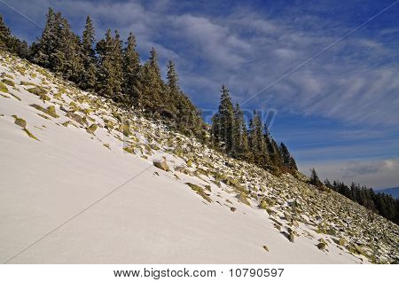 Winter stone hillside.