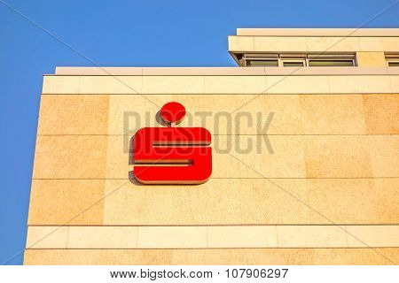 German Banks - Sparkassen Logo / Sign On Building Facade