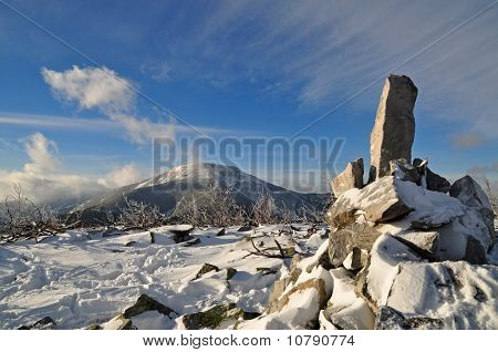 Pyramid from stones at mountain top