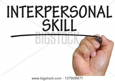 Hand Writing Interpersonal Skill Over Plain White Background