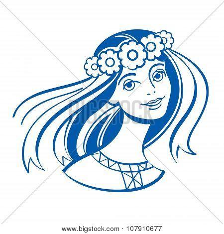 Slavic girl in a wreath of flowers