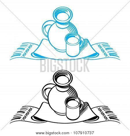 Crock, cup and towel