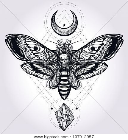 Deaths head hawk moth with moons and stones.