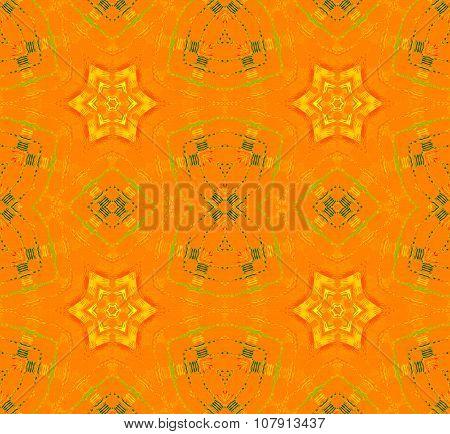 Seamless star pattern yellow gorange green