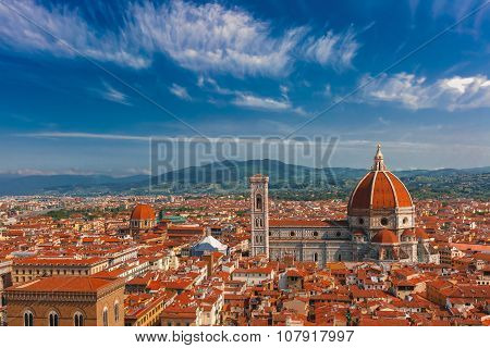 Duomo Santa Maria Del Fiore and Medici Chapel at morning from Palazzo Vecchio in Florence, Tuscany, Italy poster