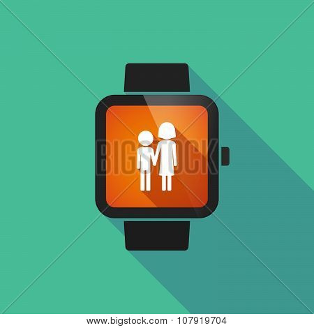 Long shadow smart watch vector icon with a childhood pictogram poster